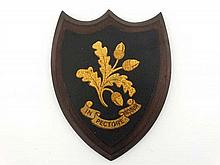 Armorial : A shield depicting Acorns and oak leaves with motto under ' In Pectore Robur ' ( Heart of Oak ) 7 7/8