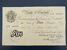 White £5 pound note : a Bank of England Five Pound note marked London 2 Dec r 1944 no. E79 093235 bearing chief cashier signature of KO Peppiatt. Watermarked 8 1/2 x 5 1/4