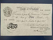 White £5 pound note : a Bank of England Five Pound note marked London 9 April 1947 no. L 86 058568 bearing chief cashier signature of KO Peppiatt. Watermarked .8 1/2 x 5 1/4