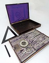 Science and Technology : a magnificent 1865 rosewood cased Architect / Designers drawing set comprising : compasses , dividers , Swiss pattern folding Compasses, measuring guages , white metal cased pocket watch shaped thermometer ( with Reamer ,