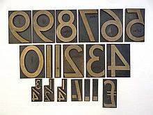 Leeds Northern Railway : A 19thC set of cast brass printing letters, to include £011234567899 (plus two dots) 1/4 1/2 3/4 and / (sign for old shilling). Stamped LNR 90 . Approx 3 3/4