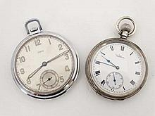 Pocketwatches : an Oris Art Deco Top wind pocket watch with inset seconds dial at 6 together with another HM silver top wind Waltham pocket watch with inscription to The Rev. Brotherton ...west Melton Congregational Church...June 1910' 2