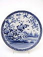 A blue and white Chinese charger, painted with a