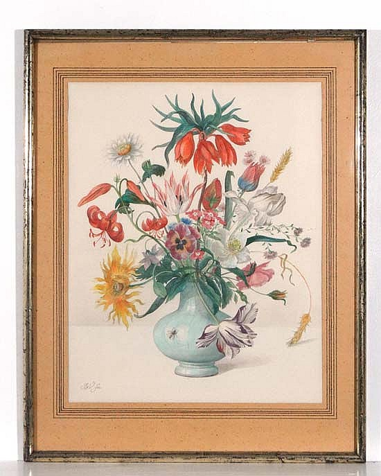 XX Dutch School Watercolour Still life of flowers