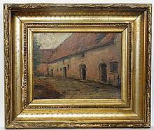 Alois de Laet (1866-1949) Belgian, Oil on board, Monastic Building. Signed lower righ