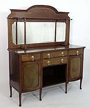 A c.1900 mahogany double bow front mirror back