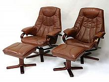 Vintage Retro : a pair of Danish Style swivel and
