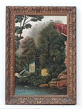 WH Luggar 1905 Oil on canvas Water wheel besides a