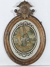 XIX Gilt framed Silkwork An oval in colours The