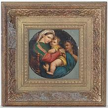 Italian School after Raphael Over painted print, a