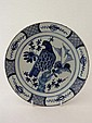 A Continental tin glazed plate decorated in blue