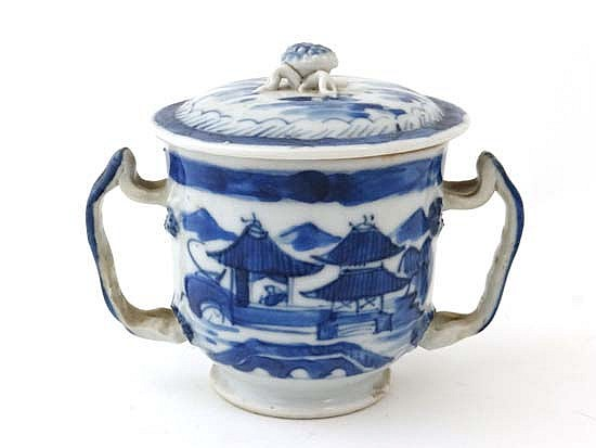 A Chinese 19thC blue and white lidded 2- handled