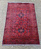 Carpet rug : An Afghan handmade rug with wine red
