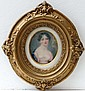 XIX Miniature on Ivory An Oval Portrait of a dark