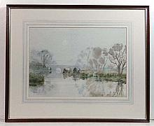 G F Adams XX Watercolour ' Mist at Swinford ' Oxon