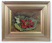 John W Robson XIX Oil on canvas ' Strawberries '
