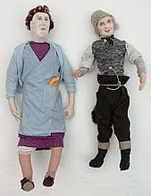 Character dolls : Two handmade models formed as