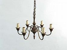 A Contemporary brass pendant electrolier of 6