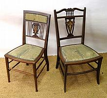 2 late 19thC inlaid walnut bedroom chairs with