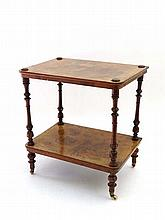 A Victorian two tier burr walnut whatnot 20 3/4