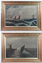M J Capps 1891 Oil on canvas , a pair Sail life