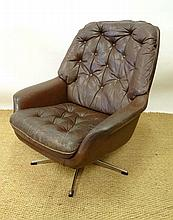 Vintage Retro : A Danish button back brown leather