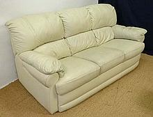 A contemporary white leather 3 seat Sofa 77