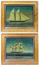 A pair of XX reverse glass Marine mezzotints with