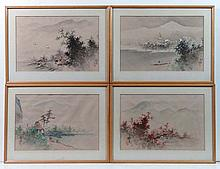 Set of 4 Japanese watercolours on silk 3 x Sea