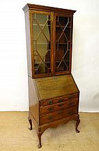 An 18thC / 19thC Continental oak bureau bookcase,