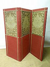 A late Victorian 3 fold -screen with part tapestry
