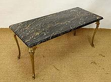 A 1920's gilt painted bronze table with veined