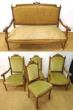 A French c.1900 Louis XVI style blonde wood salon