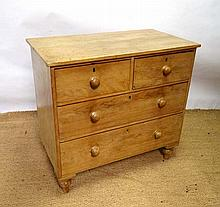 A late 19tC waxed stripped pine chest of drawers