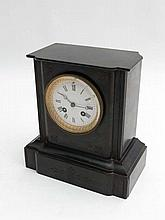 Slate Mantle Clock : a 19th C slate cased 8 day