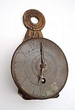 A c.1900 copper fronted open wall hanging clock (