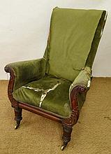 A late Regency mahogany library chair of lyre and