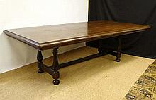 A 17thC oak refectory table ( with later top) and