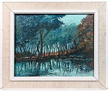E M Holman XX Pallet Knife oil on board ' The Pond