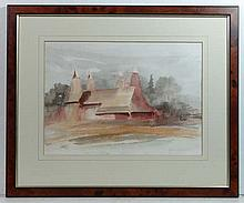 Ken F Bildrew XX Watercolour ' Oast houses in Kent