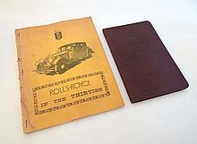 Automobilia - Rolls-Royce hand book for 25-30 H.P