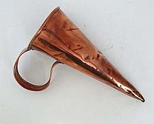 A 19thC copper ale / beer warmer of conical form