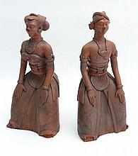 A pair of early - mid 20thC terracotta models of