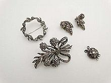 Assorted silver and marcasite jewellery comprising