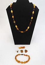 Assorted Amber and faux amber jewellery to include