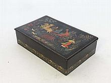 A Russian papier-mache lacquered box with image to