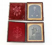 Daguerreotype : A pair of folding leather cased