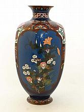 A c.1900 cloisonne bottle vase of hexagonal