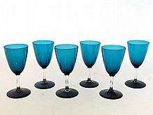 A set of 6 late 19thC green/blue c.1900 wine