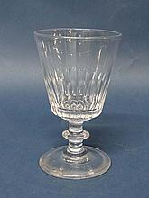 A 19thC glass rummer with conical slice cut sides